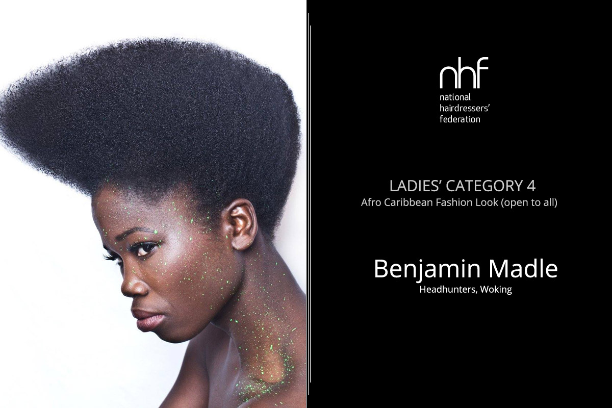 Fotostylista Británie 2015 (Photographic Stylist – NHF) – vítěz Benjamin Madle – Headhunters, Woking, (Ladies Category 4 – Afro-Caribbean – Fashion Look).