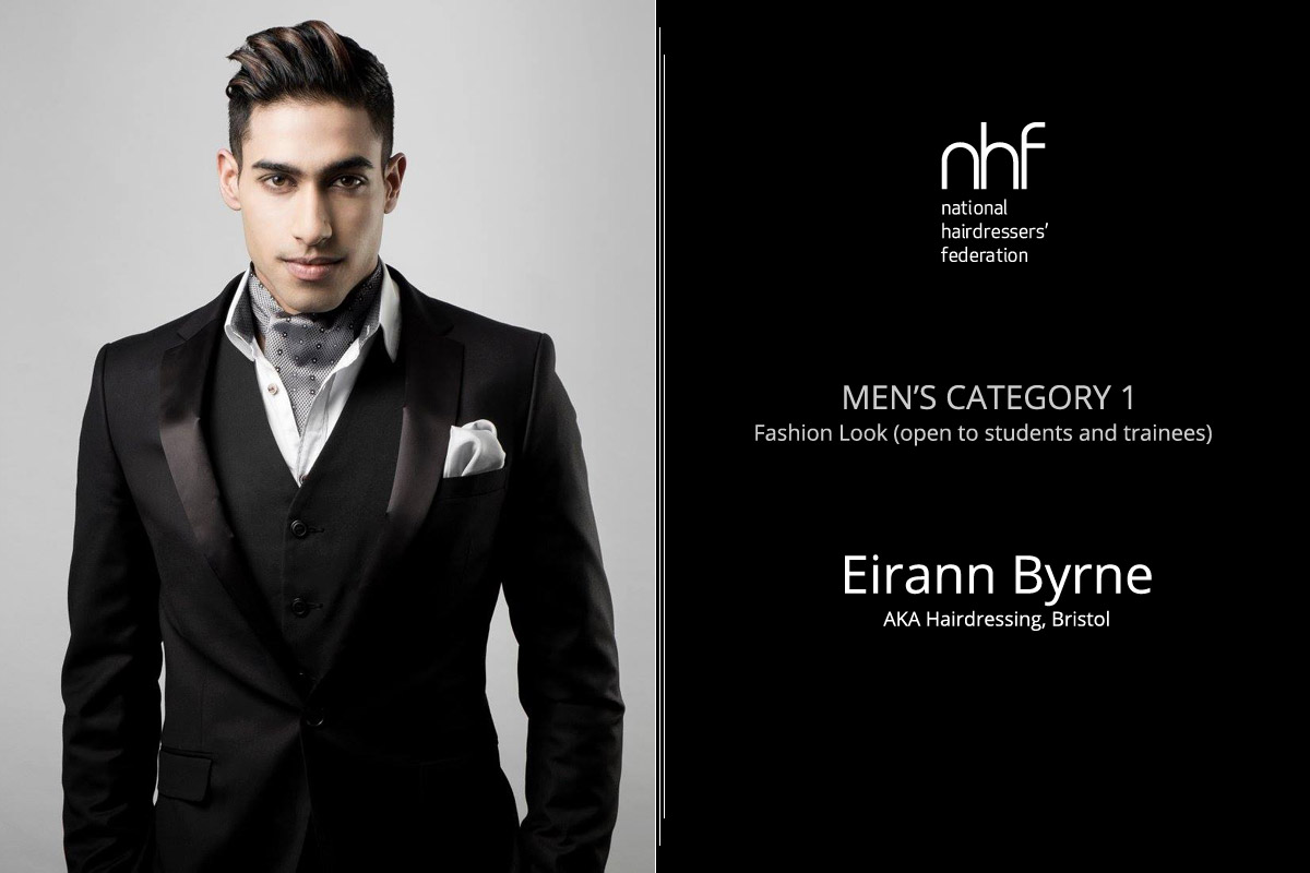 Fotostylista Británie 2015 (Photographic Stylist – NHF) – vítěz Eirann Byrne – AKA Hairdressing, Bristol, (Men's Category 1 – Fashion Look, students and trainees).
