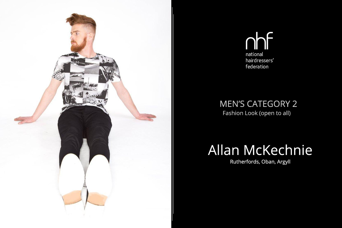 Fotostylista Británie 2015 (Photographic Stylist – NHF) – vítěz Allan McKechnie – Rutherfords, Oban, (Men's Category 2 – Fashion Look).