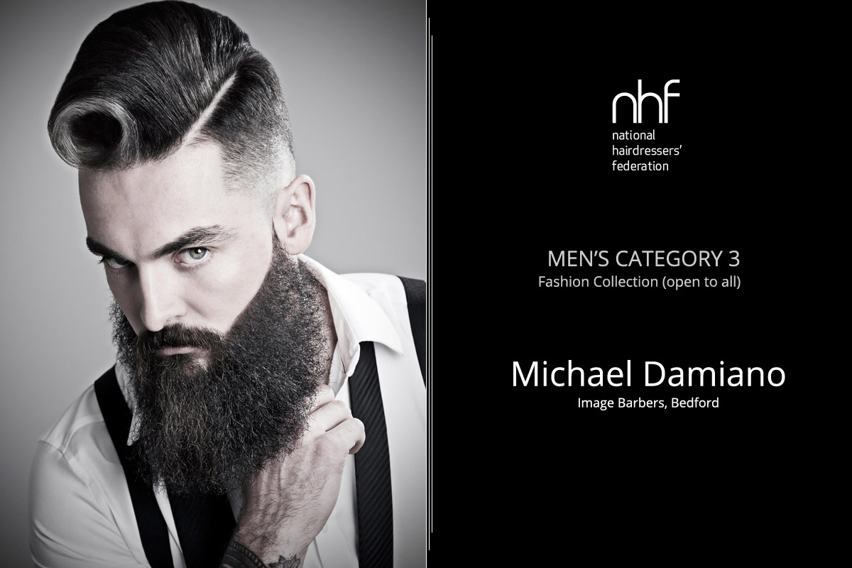 Fotostylista Británie 2015 (Photographic Stylist – NHF) – vítěz Michael Damiano – Image Barbers, Bedford (Men's Category 3 – Fashion Collection).