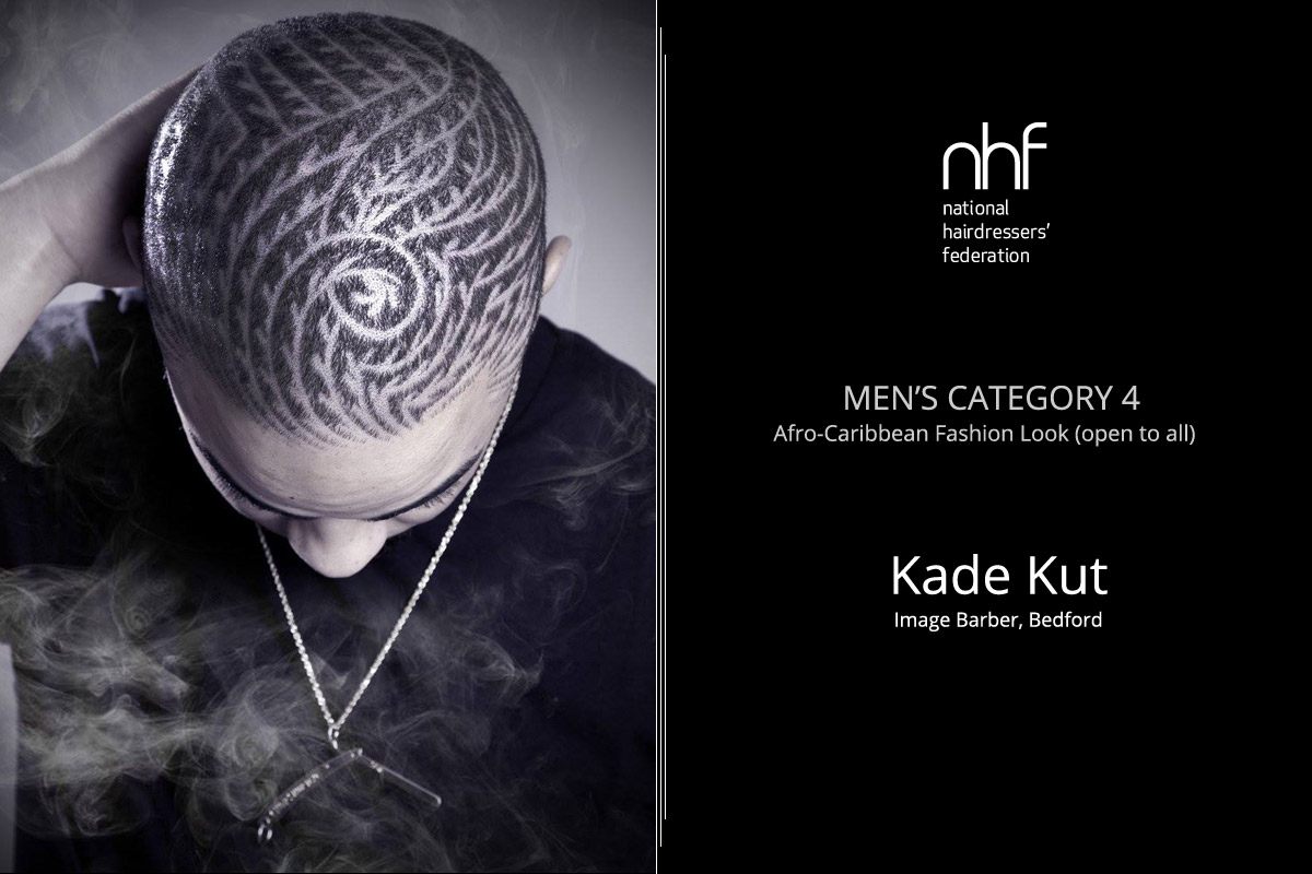 Fotostylista Británie 2015 (Photographic Stylist – NHF) – vítěz Kade Burgess – Image Barbers, Bedford, (Men's Category 4 – Afro-Caribbean – Fashion Look).