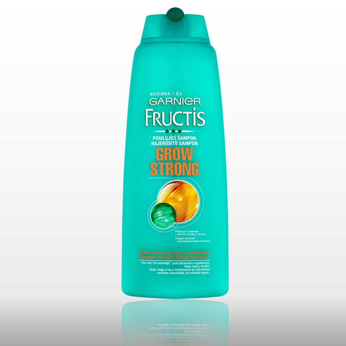 Šampon Garnier Fructis Grow Strong pro slabé vlasy.