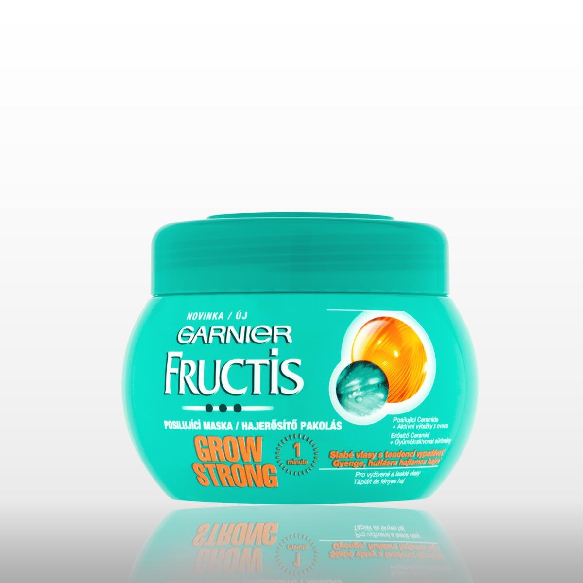 Maska Garnier Fructis Grow Strong pro slabé vlasy.