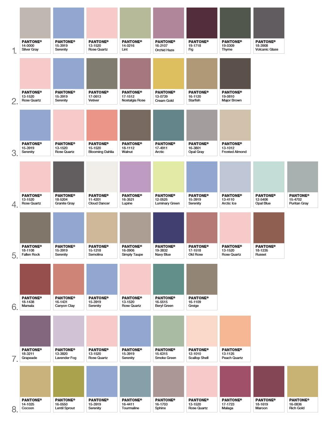 Jak kombinovat barvu roku 2016 – podívejte se na vzorníky barev, které skvěle ladí s barvami roku Rose Quartz a Serenity.
