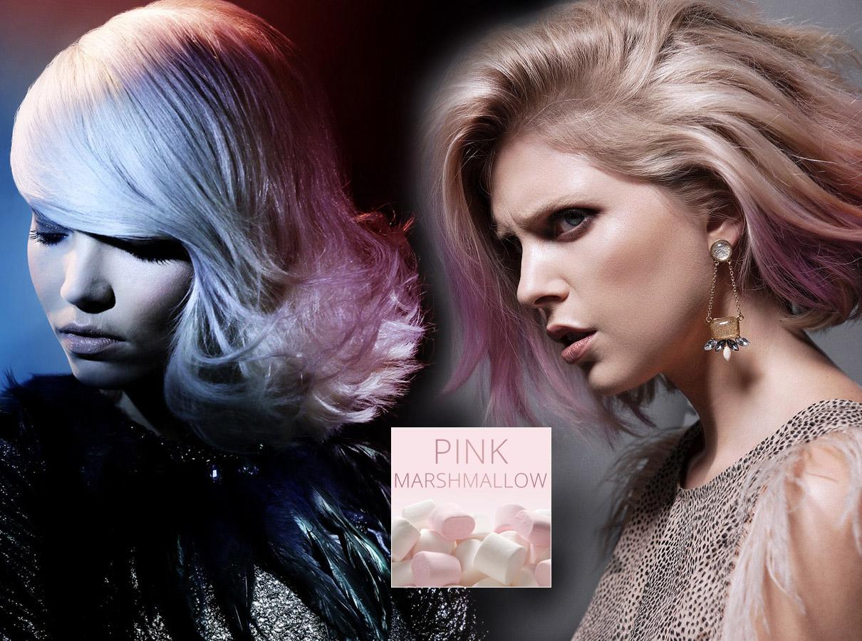 Barvy pro polodlouhé vlasy – trendy podzim/zima 2015/2016: Růžové marshmallow á la Rose Quartz.