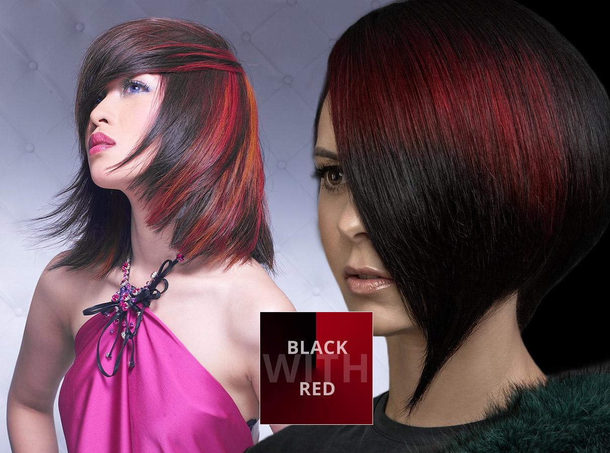 Barvy pro polodlouhé vlasy – trendy podzim/zima 2015/2016: Black and red jako pekelná síla kontrastu.