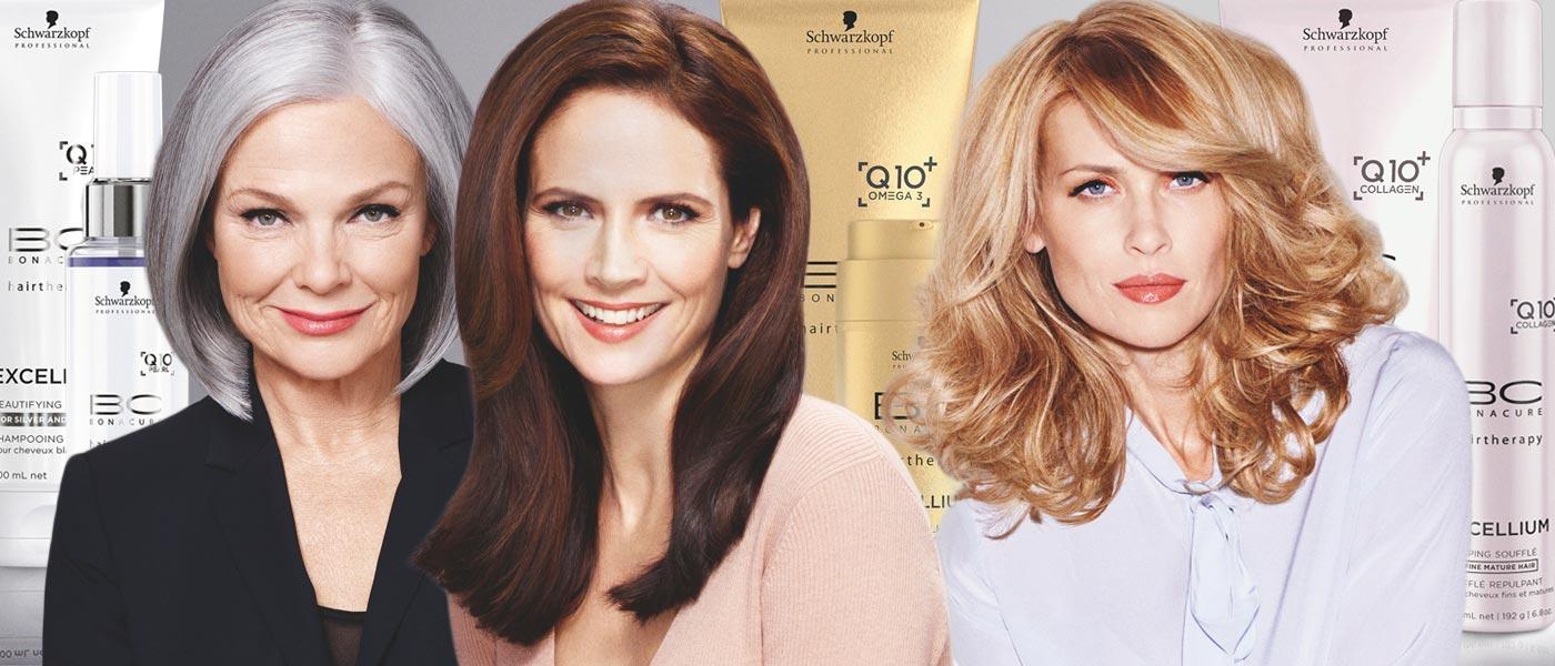 Starší ženy potřebuji speciální vlasovou kosmetiku. Schwarzkopf Professional vyvinul speciální kosmetickou řadu na zralé vlasy – BC EXCELLIUM Q10 +.