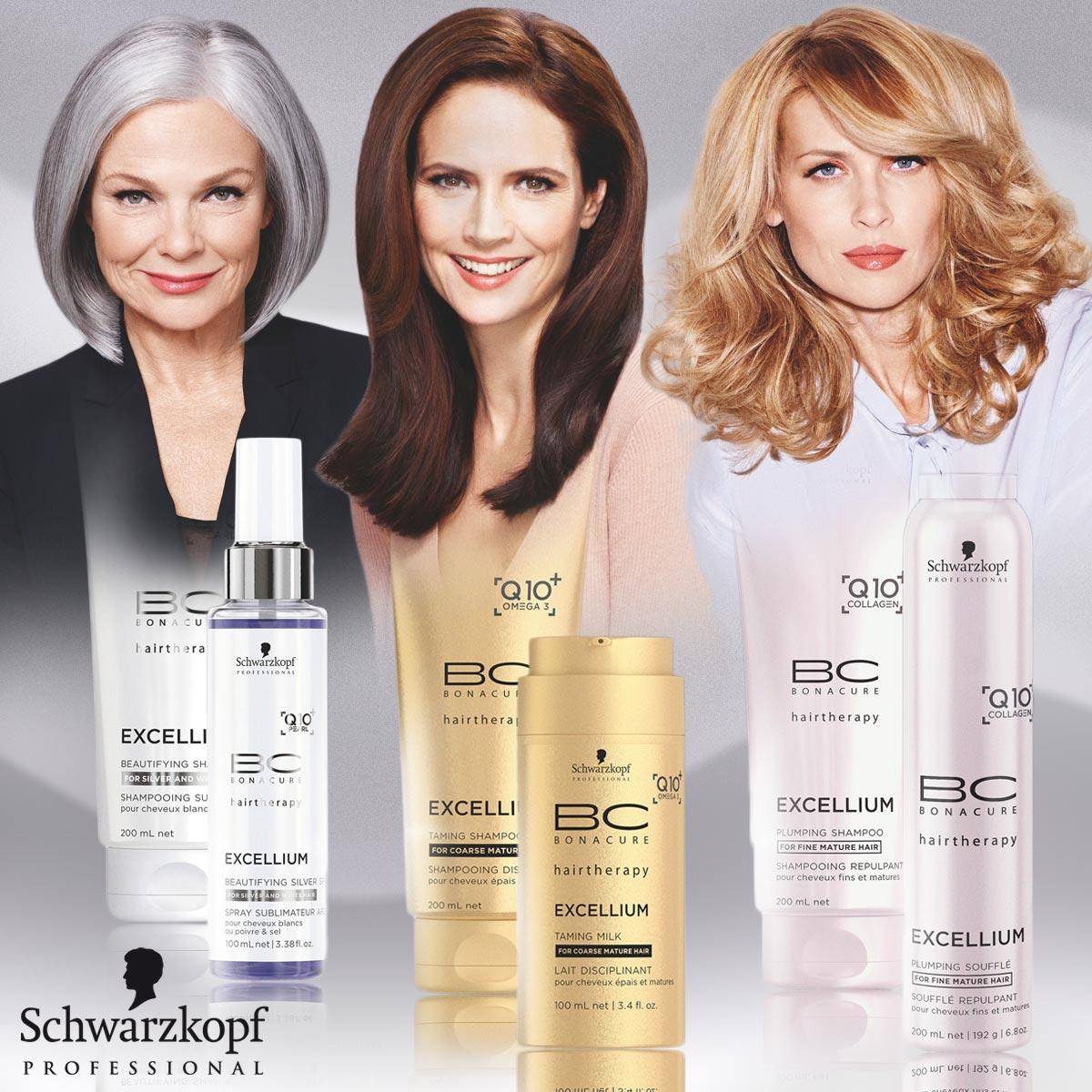 Schwarzkopf Professional letos fandí kráse v každém věku. Ke kolekci účesů pro starší ženy nechybí ani speciální vlasové kosmetika BC EXCELLIUM Q10 +. pro problémy zralých vlasů.