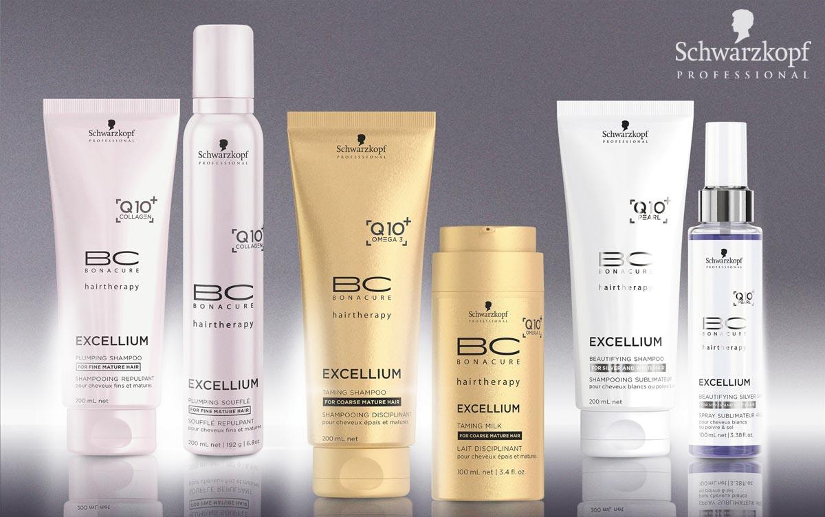 BC EXCELLIUM Q10 + od Schwarzkopf Professional: Navrátí vlasům mladistvost pomocí obsaženého Q10 +. Jedná se o anti-aging enzym, u kterého je prokázáno, že stimuluje tvorbu keratinu v koříncích vlasů a dodává vlasům mladistvou vitalitu a sílu. Q10 + je hlavní složkou této řady a vytváří základ pro silnější strukturu vlasů.
