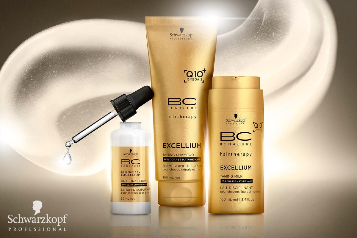 BC EXCELLIUM Q10 + Omega 3 od Schwarzkopf Professional: Barvené, zralé vlasy mohou časem působit hrubě a vysušeně, proto potřebují speciální a intenzivní péči, která jim navrátí lesk a výživu. Přídavek Omega-3 řady BC EXCELLIUM Q10+ může s problémem pomoci. Tyto esenciální mastné kyseliny vyživují vlasy a oslňují svým mimořádným anti-aging efektem. Vyhlazují povrch vlasů a obnovují zdravý lesk. Vlasy získají zpět svoji sílu a mnohem lépe se s nimi pracuje