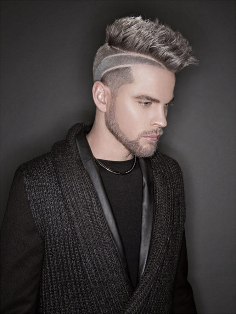 Šedé vlasy jako pánské účesy 2016 – krátké vlasy pro muže s módní kresbou a plnovouse jako součástí účesu.