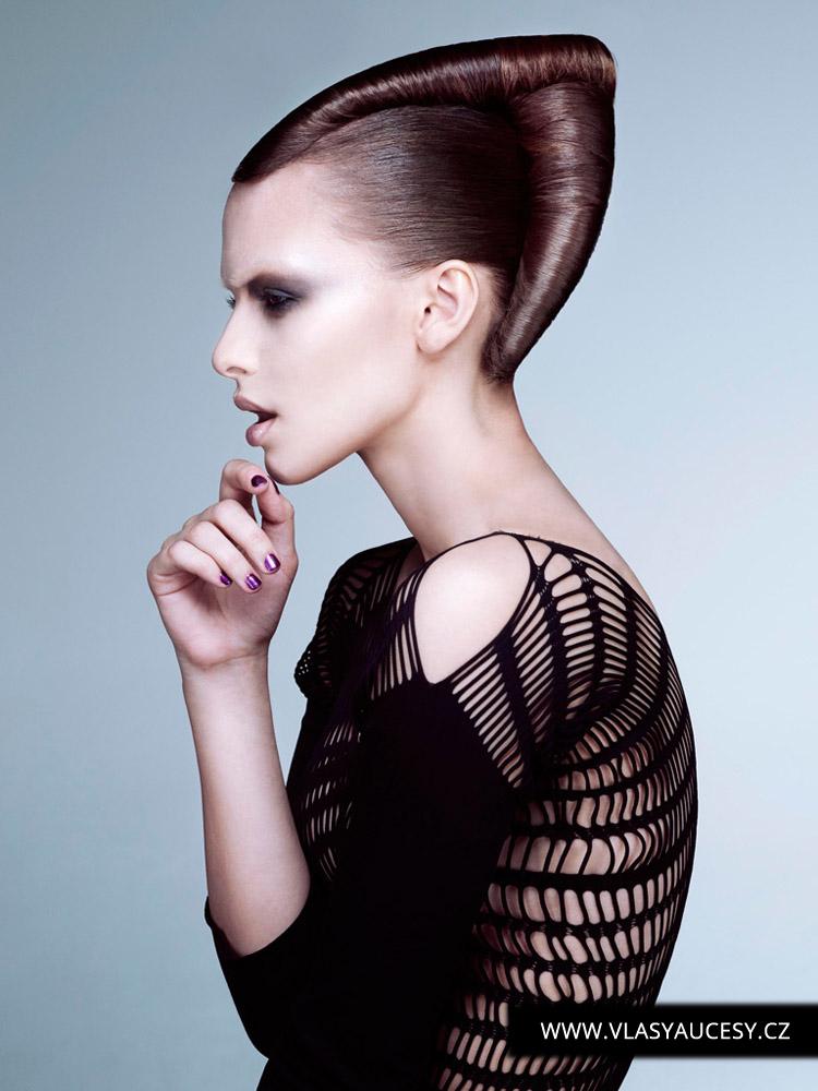 Dlouhé vlasy 2016 jako hladké drdoly a výčesy. (Rush Hair / British Hairdressing Awards 2015)
