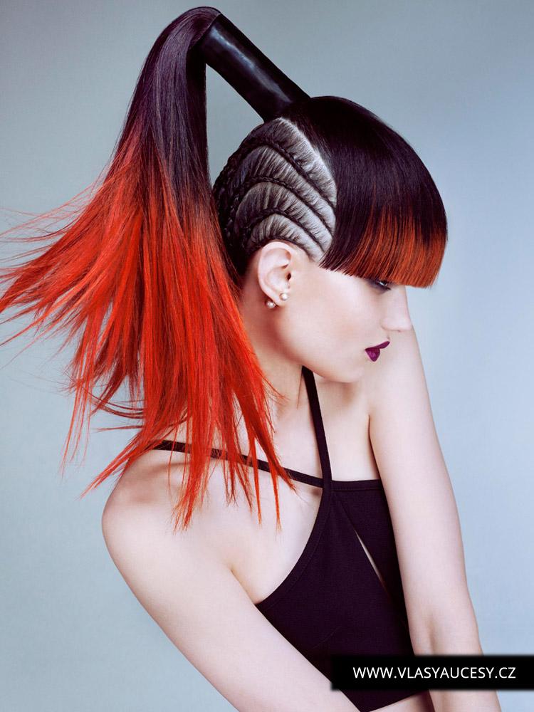 Dlouhé vlasy 2016 jako copánky pletené u hlavy. (Rush Hair / British Hairdressing Awards 2015)