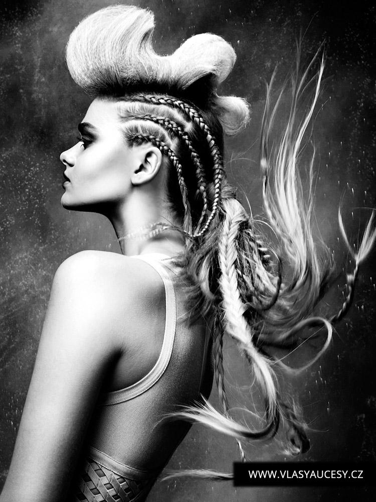 Dlouhé vlasy 2016 jako copánky pletené u hlavy. (Paul Falltrick / British Hairdressing Awards 2015)