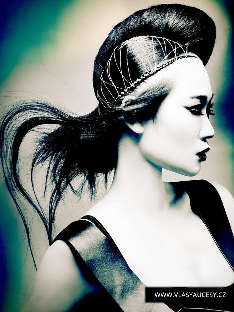 Dlouhé vlasy 2016 jako účesy zdobené vetkávanými tkaničkami a výšivkami. (David Baker / British Hairdressing Awards 2015)