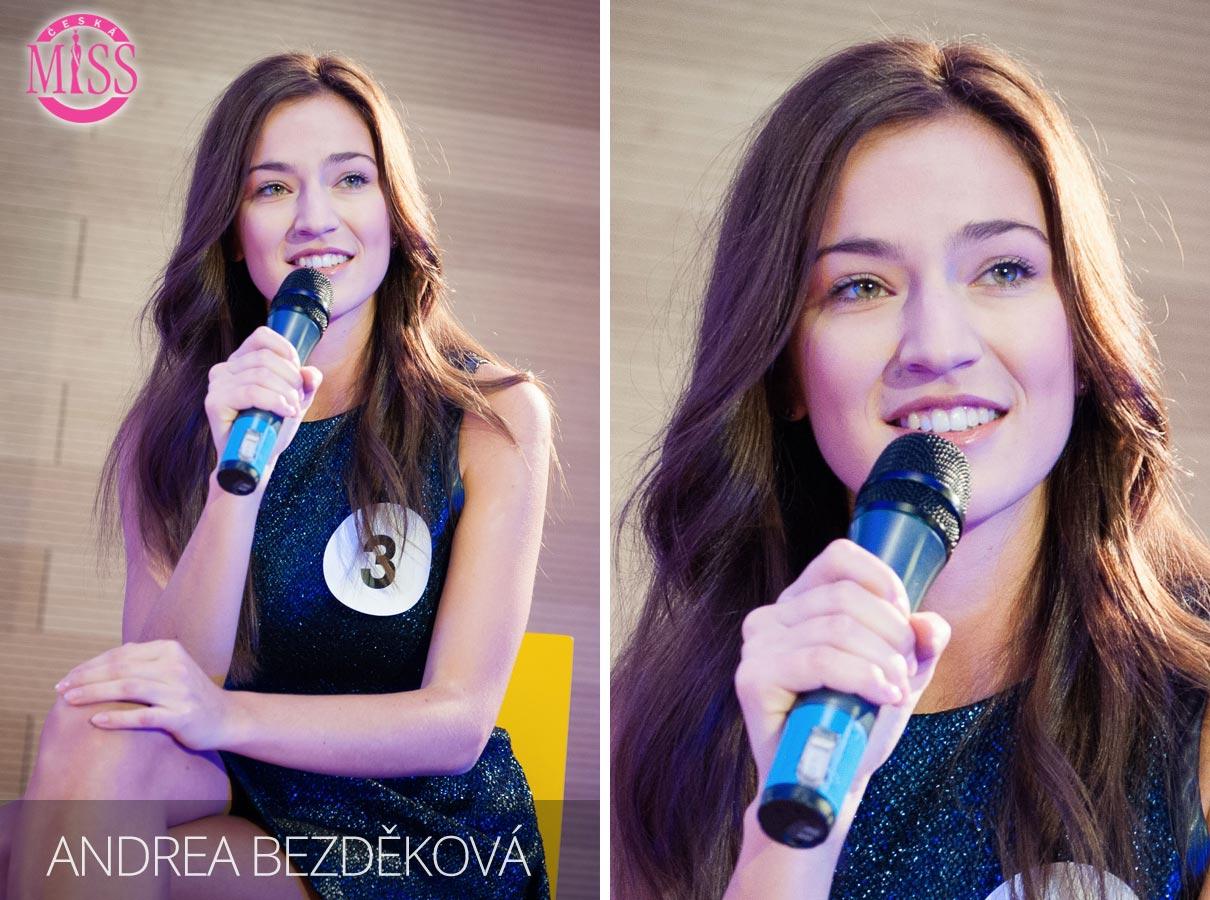 Česká Miss 2016 Andrea Bezděková, Náchod, studentka management sportu FTVS UK – jedna z top 10 finalistek.