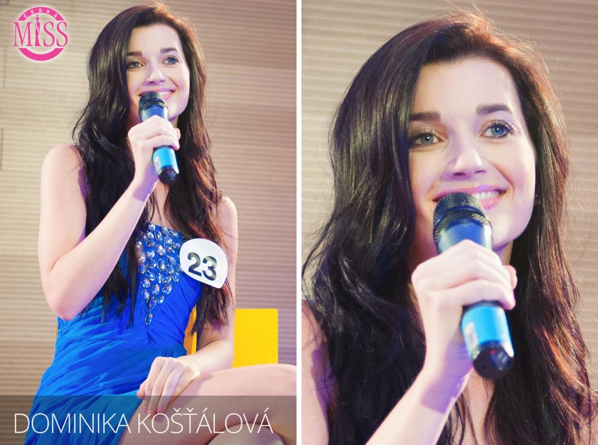 Česká Miss 2016 Dominika Košťálová, České Budějovice, Jihočeská univerzita, obor fyzioterapie – jedna z top 10 finalistek.
