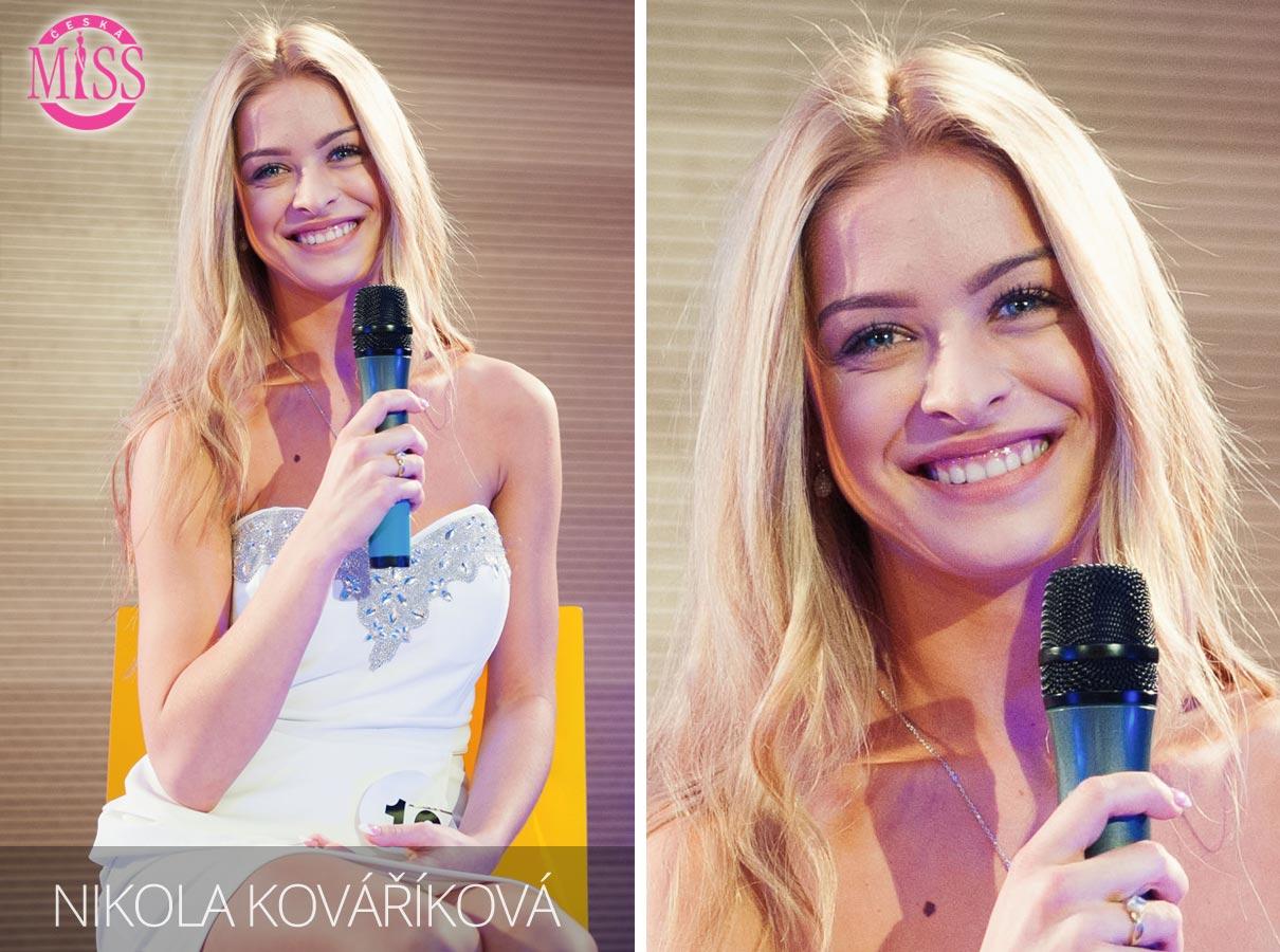 Česká Miss 2016 Nikola Kováříková, Napajedla, Právnická fakulta Univerzity Palackého v Olomouci – jedna z top 10 finalistek.