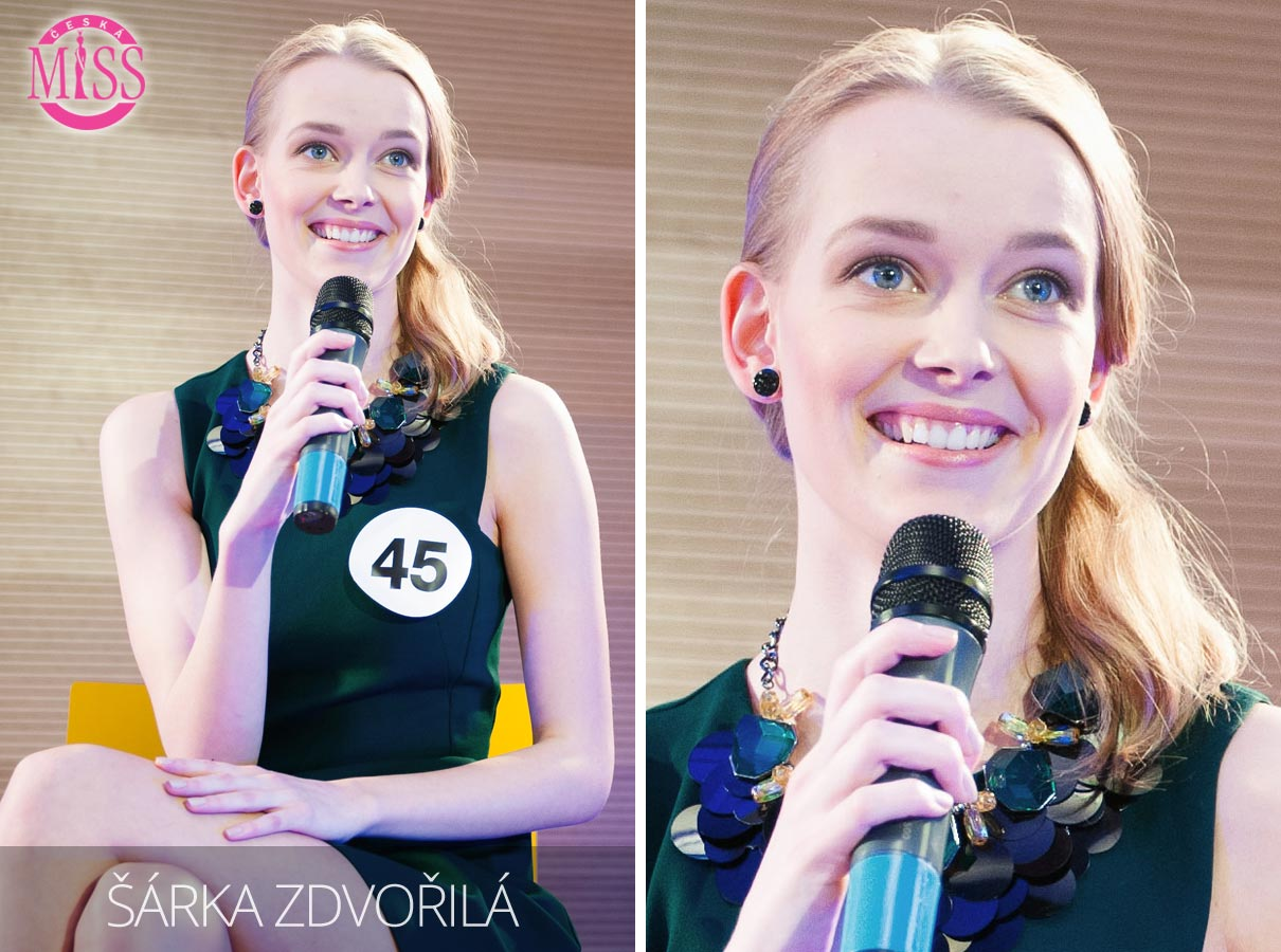 Česká Miss 2016 Šárka Zdvořilá, Orlová, pracující – jedna z top 10 finalistek.