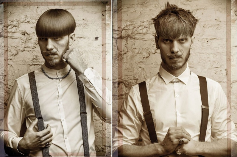 Alexander Lepschi a jeho inspirativní plnovous 2016 – Austrian Hairdressing Awards 2015. Pořádně husté vousy kontrastují se stupňovitě sestříhaným účesem. Jednou s uhlazenou a podruhé s přirozeně rozvlněnou ofinou. Podobně se hladký styling se shag stylem střídá u kratších vousů s pyšně nastylovaným knírkem.