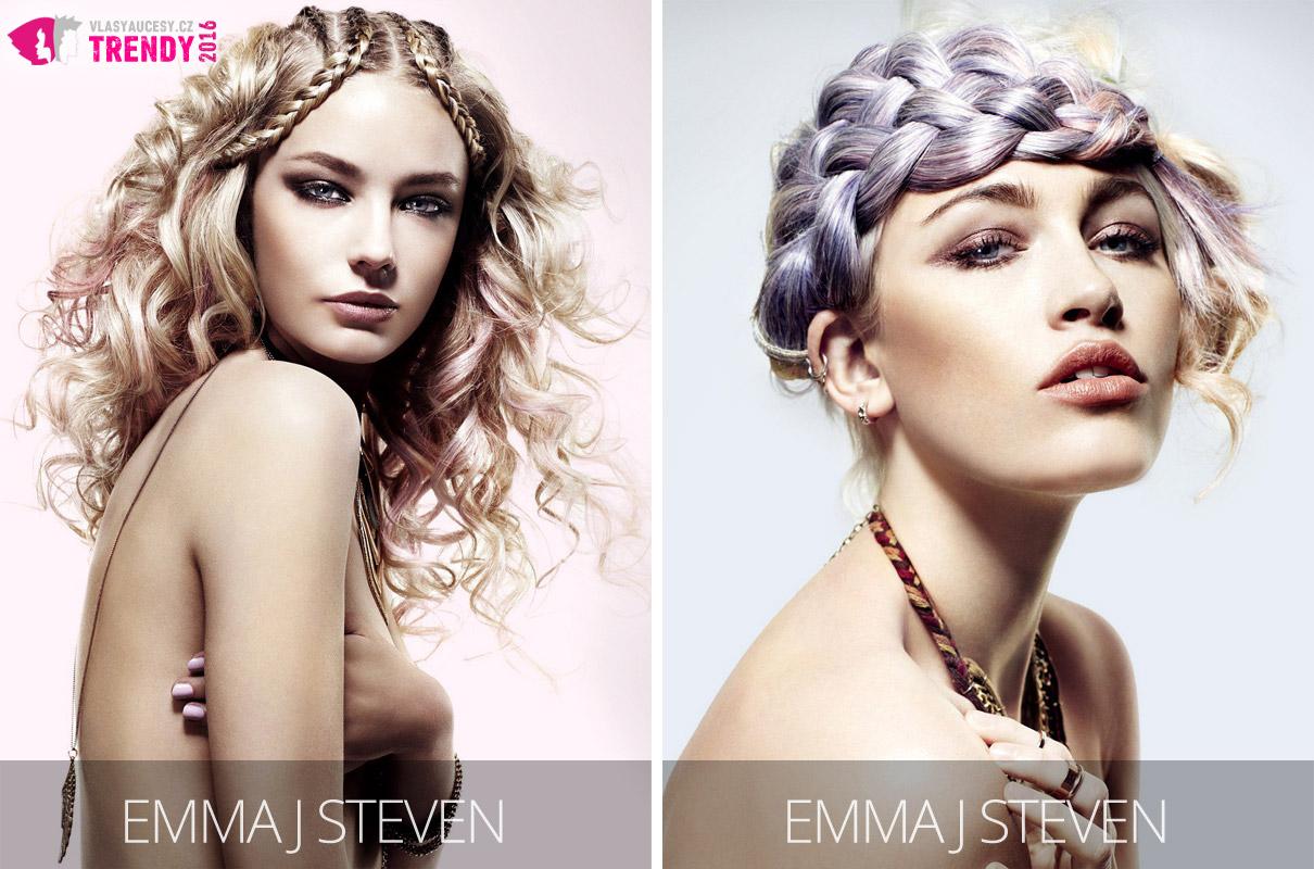 Barvy roku 2016 Rose Quartz a Serenity nabídnou barvám vlasů velkou variabilitu. Může jít jen o jemné tónování, jak vidíme na růžové Rose Quartz v pleteném účesu. Nádherná bude také fialová barva vlasů, která vzniká mícháním růžové a modré barvy s názvem Serenity. (Účesy jsou z kolekce Emma J Steven, vlasy: Emma J Steven & Troy Boyd, foto: Jenny Hare, make-up: Melissa Spaulding, styling: Emma J Steven & Troy Boyd.)