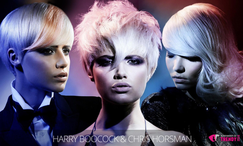 Růžové a modré pastely dokážou blond vlasy zcela proměnit. (Účesy jsou z kolekce Harry, vlasy: Harry Boocock and Chris Horsman, foto: Jim Crone, MUA: Lan Nguyen, styling: Desiree Leader.)