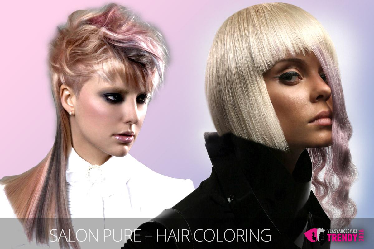 Růžová Rose Quartz změní vlasy doslova na šperk. (Účesy jsou z kolekce Salon Pure – Hair Coloring, Montreal / Quebec.)