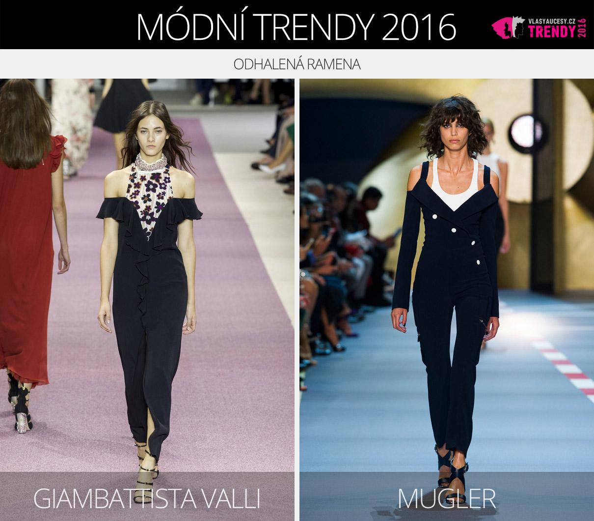 Módní trendy 2016 – odhalená ramena. (Zleva: Giambattista Valli, Mugler.)