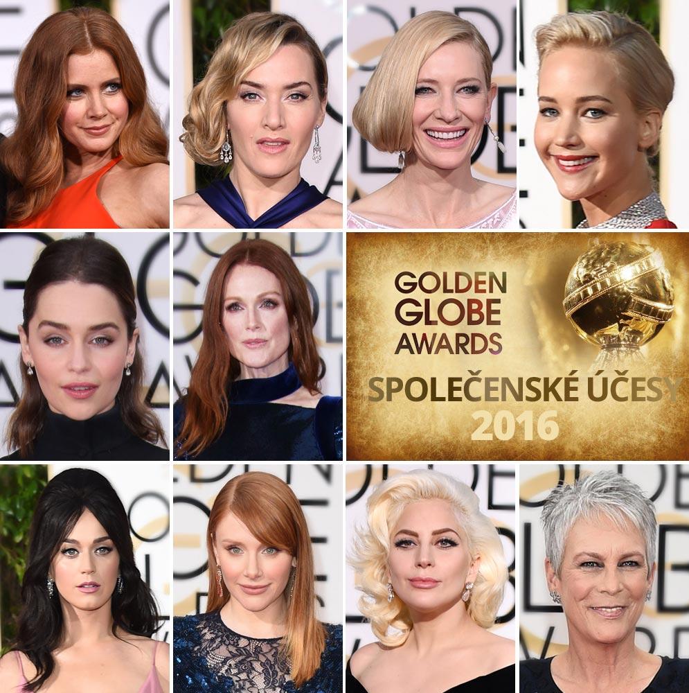 Společenské účesy z Golden Globes 2016 – inspirace pro účesy na ples.