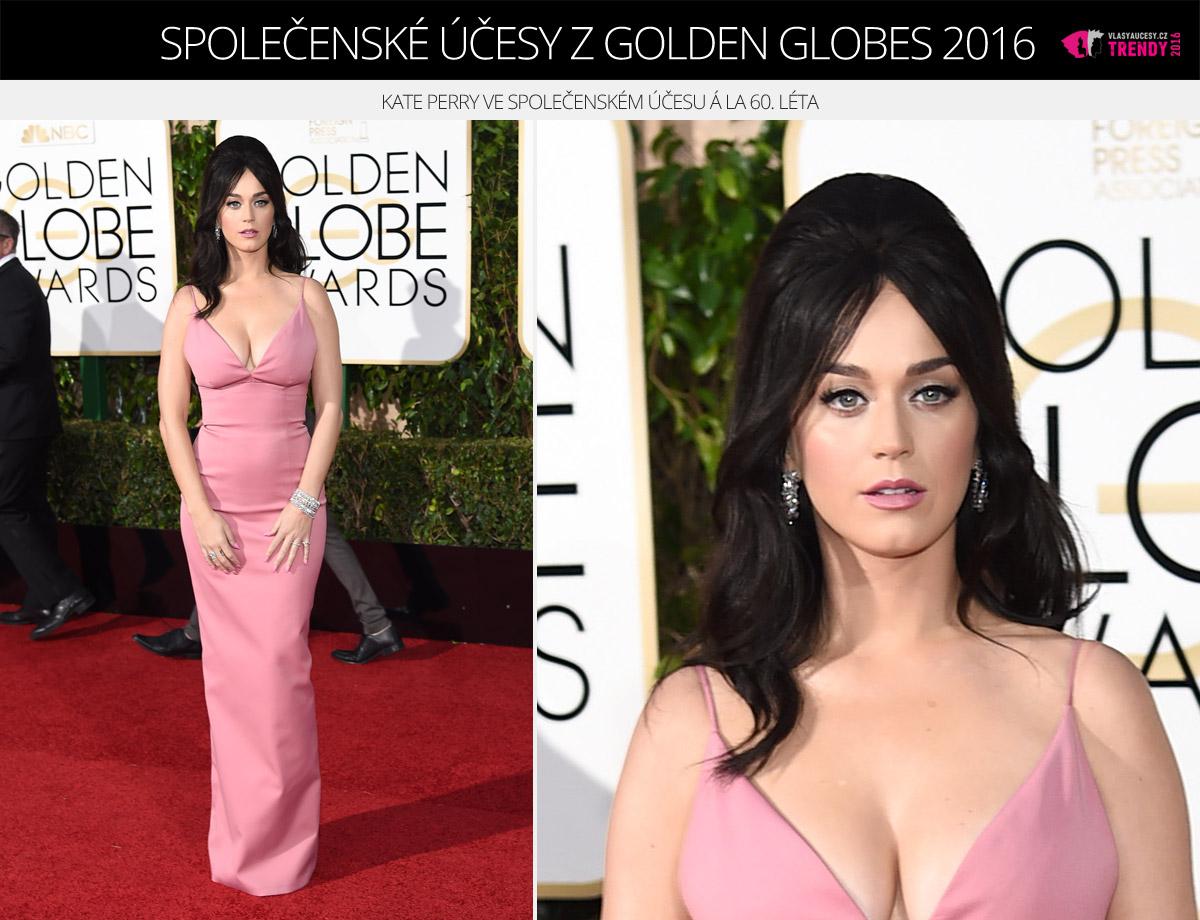 Společenské účesy z Golden Globes 2016 – Katy Perry ve společenském účesu á la 60. léta.