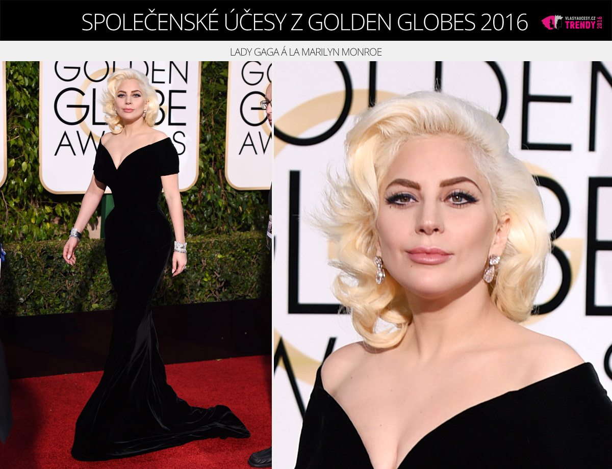 Společenské účesy z Golden Globes 2016 – Lady Gaga á la Marilyn Monroe.