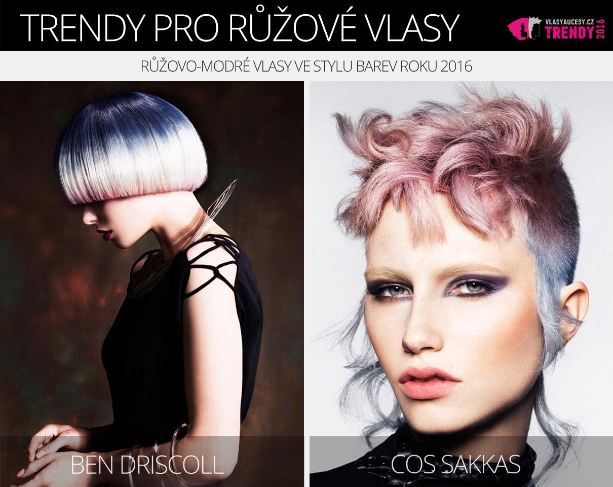 Růžová barva účesů 2016 – růžovo-modré vlasy ve stylu barev roku 2016 (Rose Quaratz a Serenity).