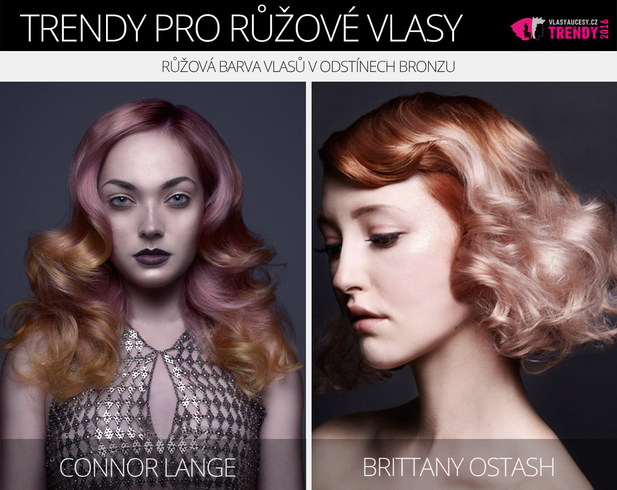 Růžová barva na vlasy 2016 – růžová barva vlasů v odstínech bronzu.