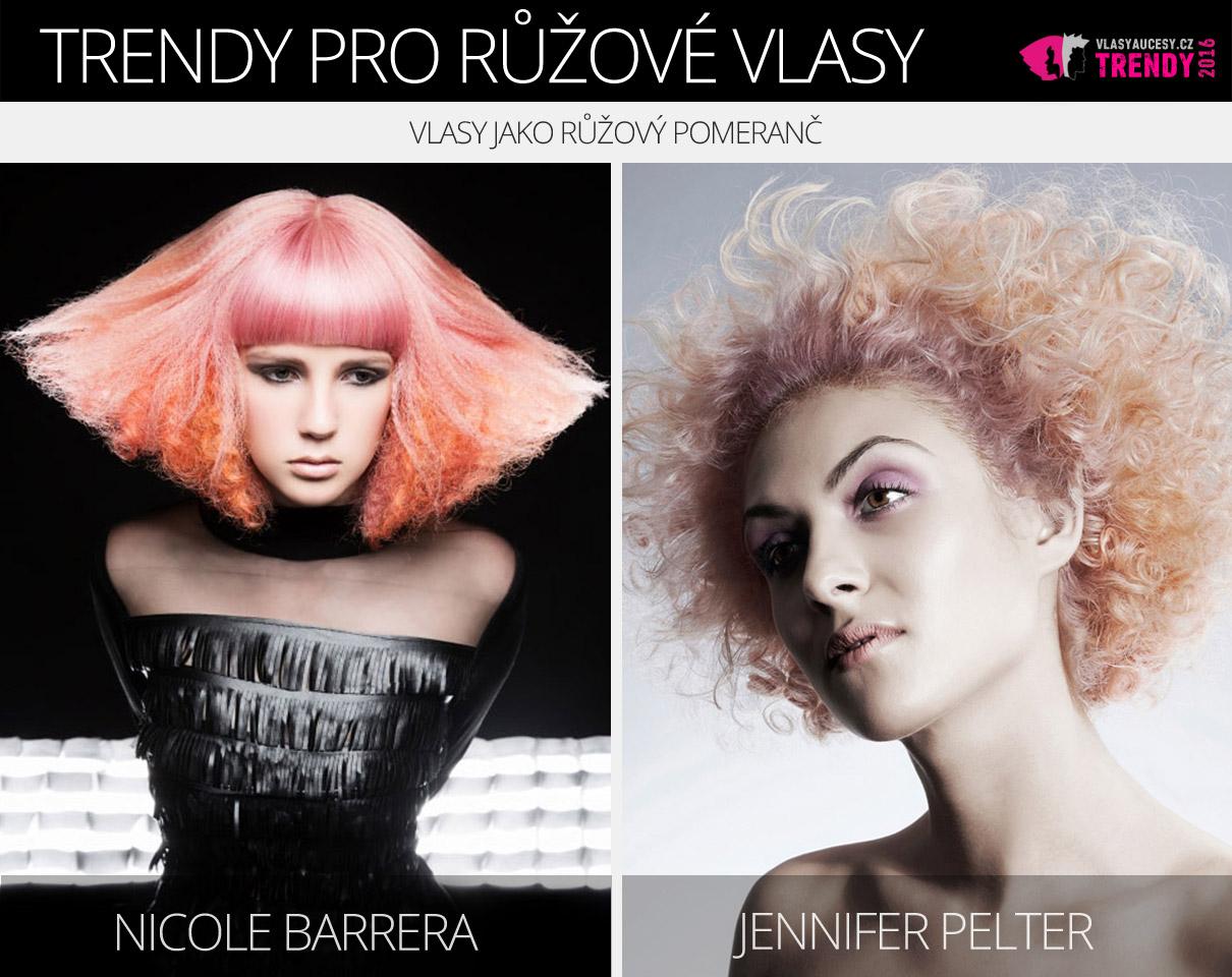 Růžová barva vlasů 2016 – vlasy jako růžový pomeranč.