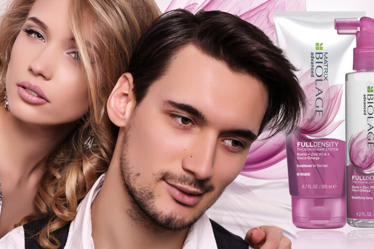 Jak na řídké vlasy? Novým pomocníkem na cestě k hustým vlas je vlasová kosmetika Fulldensity Biolage Advanced od Matrix.