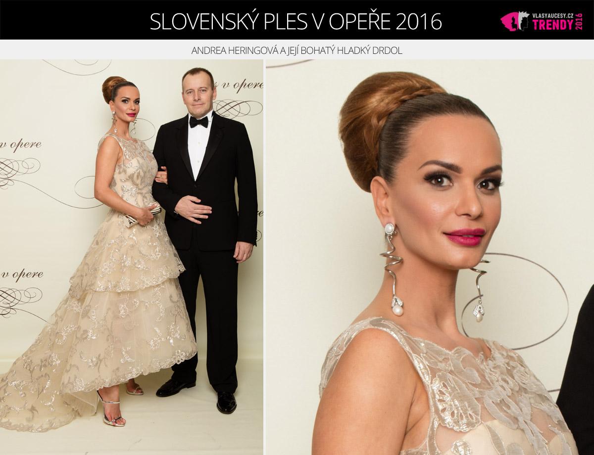 Ples v opeře 2016 Bratislava – Andrea Heringová s partnerem Borisem Kollárem.