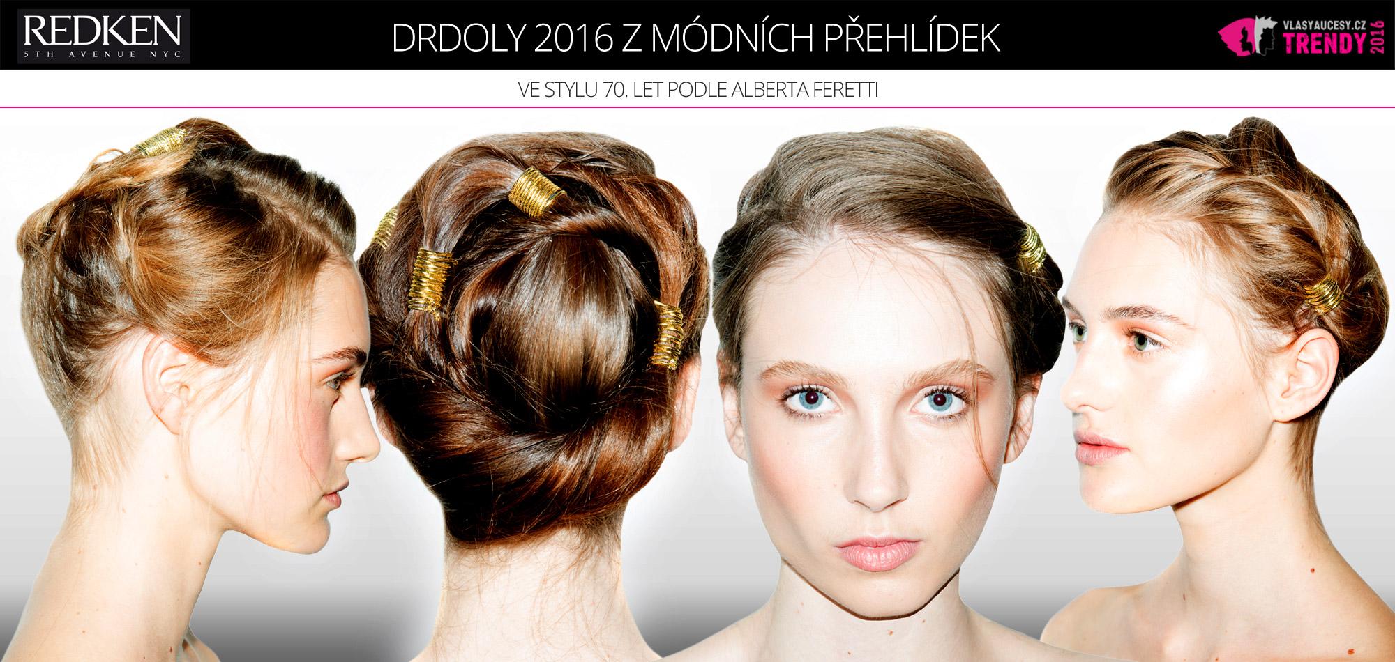 Jarní a letní drdoly 2016 podle Redken pro módní kolekci Alberta Ferreti jaro/léto 2016.
