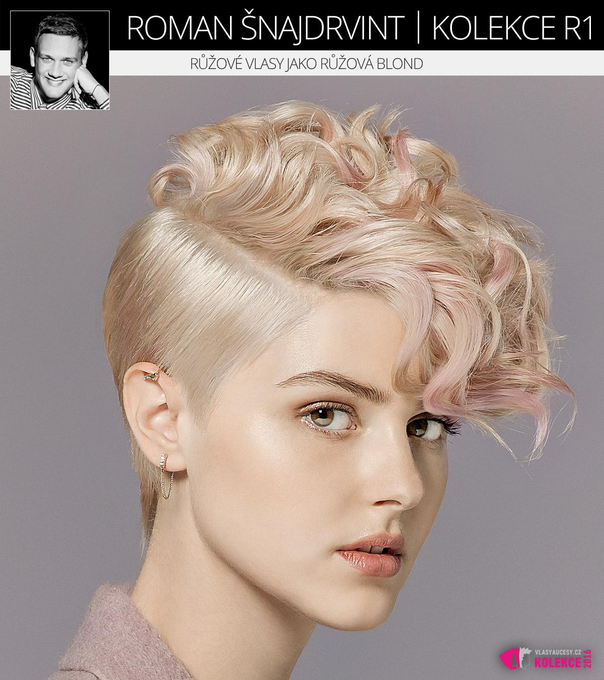 Módní blond střih s akcenty módní růžové barvy na vlasy. (Roman Šnajdrvint, kolekce účesů R1.)