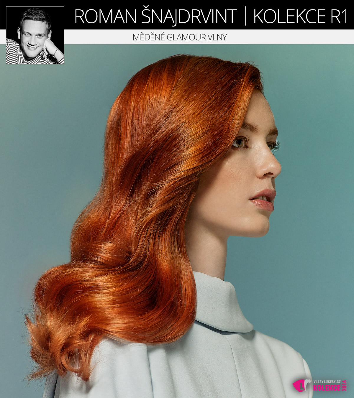 Nádherný ideál zrzavých vlasů – ideální měděná barva v dlouhém účesu s glamour vlnami. (Roman Šnajdrvint, kolekce účesů R1.)
