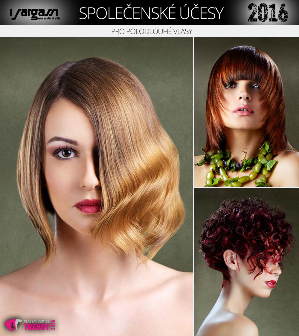 Společenské účesy pro polodlouhé vlasy jsou velice variabilní –kulmou vytvoříte falešný výčes nebo glamour vlnu, fénem třeba exotický závoj přes obličej.