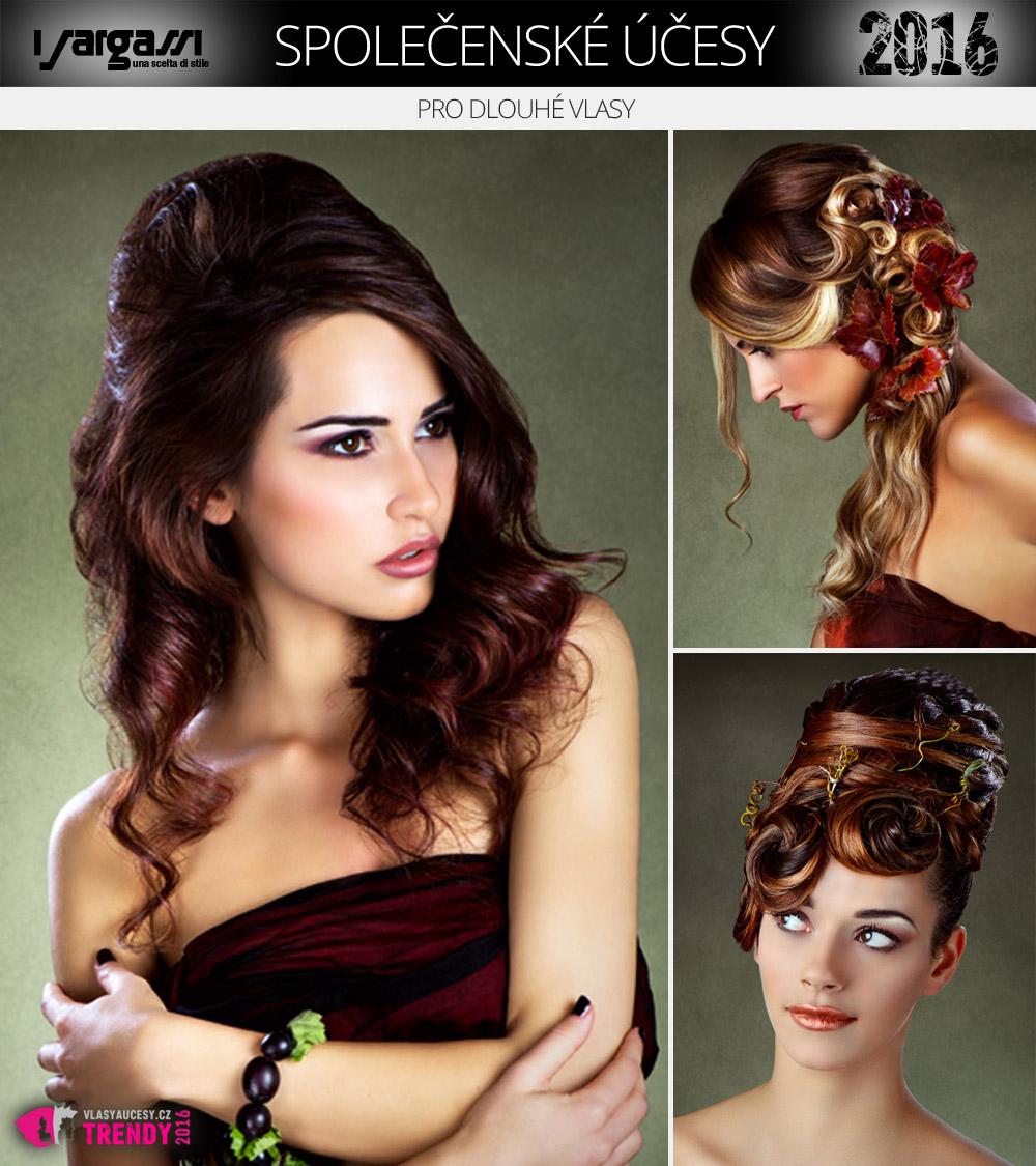 Společenské účesy pro dlouhé vlasy –drdoly a copy jsou klasika. Zkuste ale také polocopy, polovýčesy nebo glamour vlny či luxusně hladký a lesklý styling.