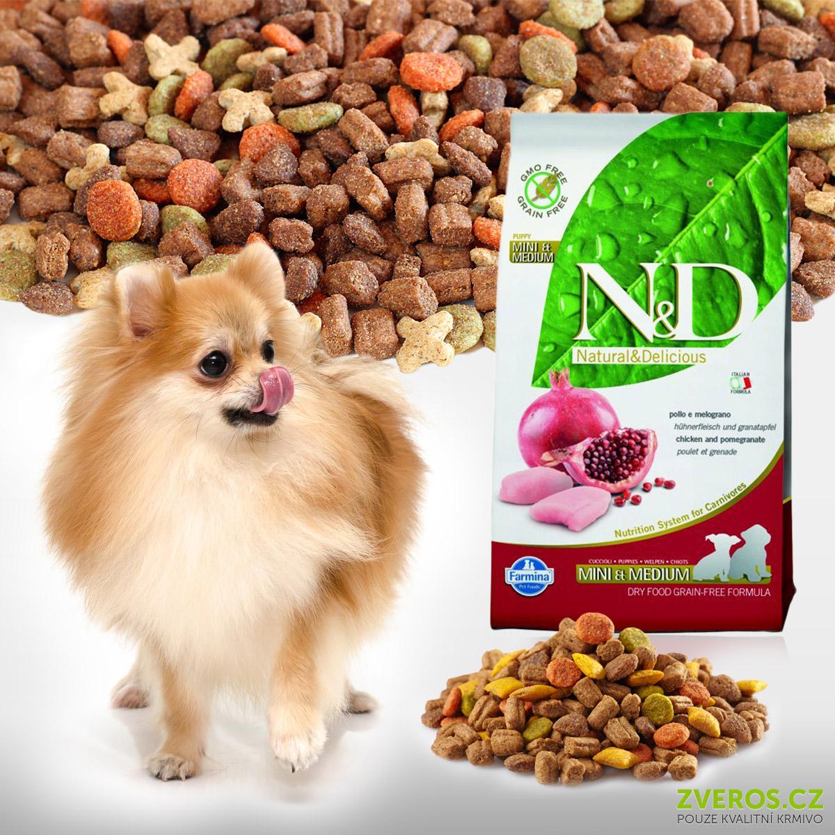Granule pro štěňata N&D Puppy Chicken & Pomegranate Dog koupíte na Zveros.cz. Obsahují superpotravinu a silný antioxidant – granátové jablko.