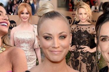 Krásné společenské šaty i inspirující účesy na ples – takový je Red Carpet letošních britských televizních cen SAG Awards.