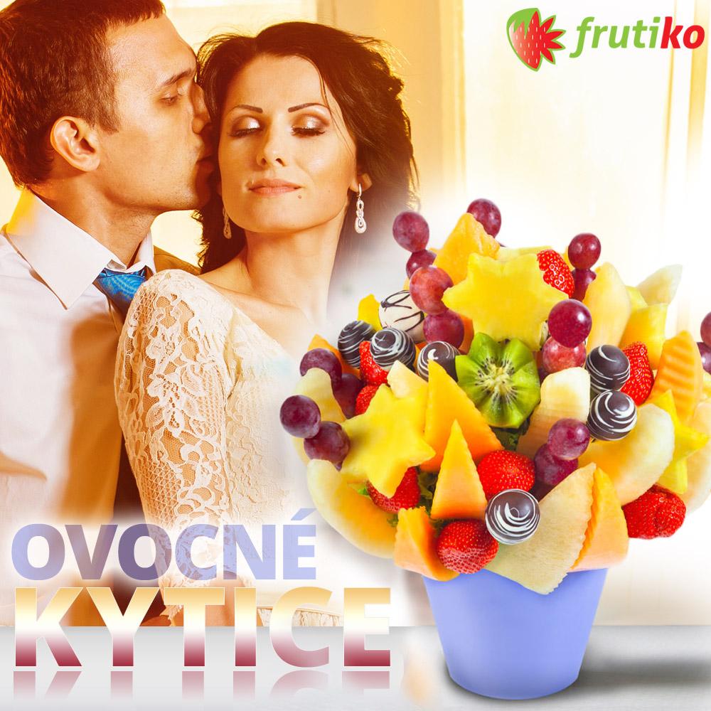 Ovocné kytice jsou originální valentýnský dárek. Dárková služba Frutiko vyrábí netradiční jedlé kytice z čerstvého ovoce, čokolády či dortů.
