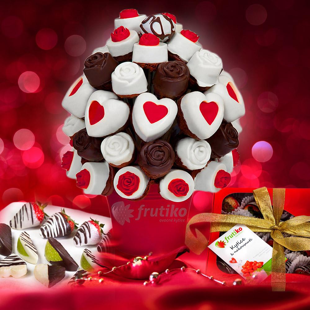 Dortové kytice Frutiko jsou vyrobené z čerstvě pečených muffinů zdobených belgickou čokoládou, barevným fondánem, oříšky či kokosem.