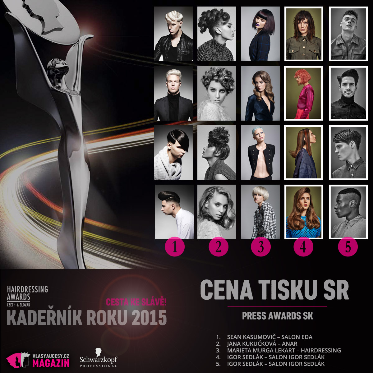 Czech&Slovak Hairdressing Awards 2015 – kategorie Cena tisku SR / Press Award SK (Sean Kasumovič – Salon EDA, Jana Kukučková – Anar, Marieta Murga Lekart – Hairdressing, Igor Sedlák – Salon Igor Sedlák, Igor Sedlák – Salon Igor Sedlák).