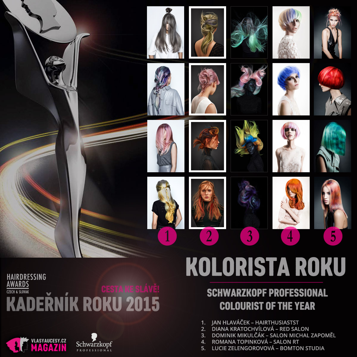 Kadeřník roku 2015 – kategorie Kolorista roku / Schwarzkopf Professional Colourist of the Year (Jan Hlaváček – Hairthusiasts, Diana Kratochvílová – RED Salon, Dominik Mikulčák – Salon Michal Zapoměl, Romana Topinková – Salon RT, Lucie Zelengorovová – Bomton Studia).
