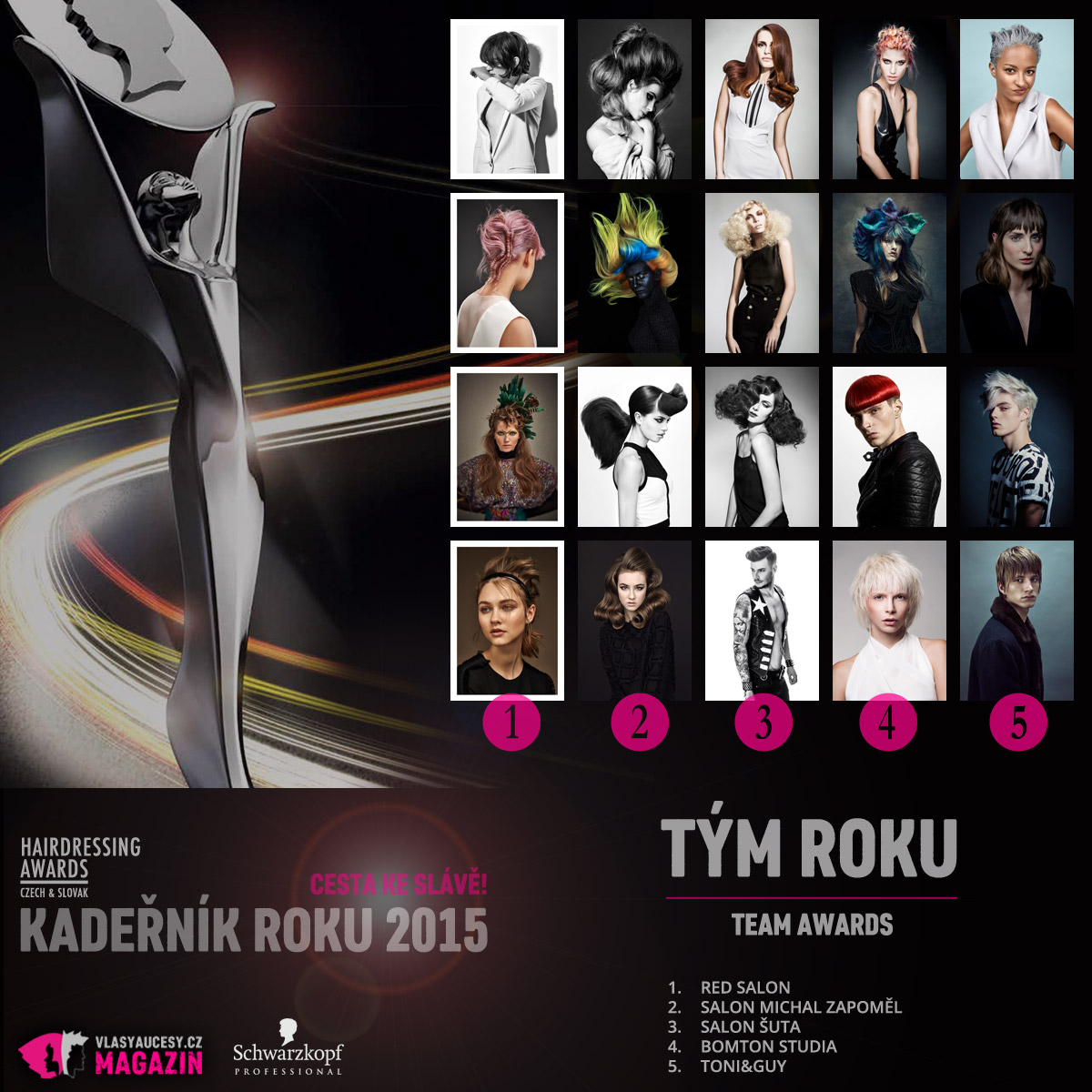 Czech&Slovak Hairdressing Awards 2015 – kategorie Tým roku / Team Award (RED Salon, Salon Michal Zapoměl, Salon ŠUTA, Bomton Studia, Toni&Guy).