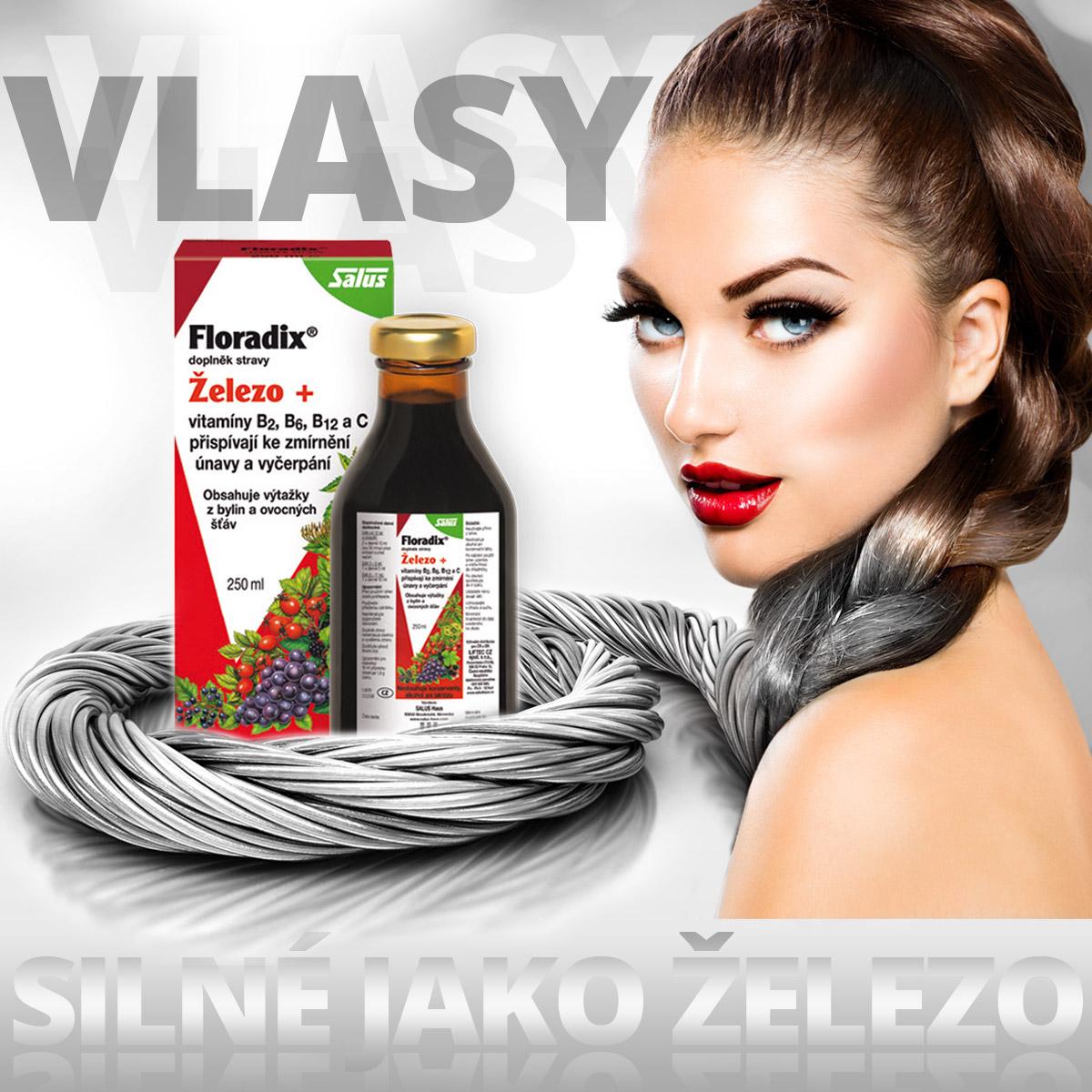 Nedostatek železa bývá častou příčinou padání vlasů u žen. Pomůže vám tekuté železo v dobře vstřebatelné formě –Floradix.