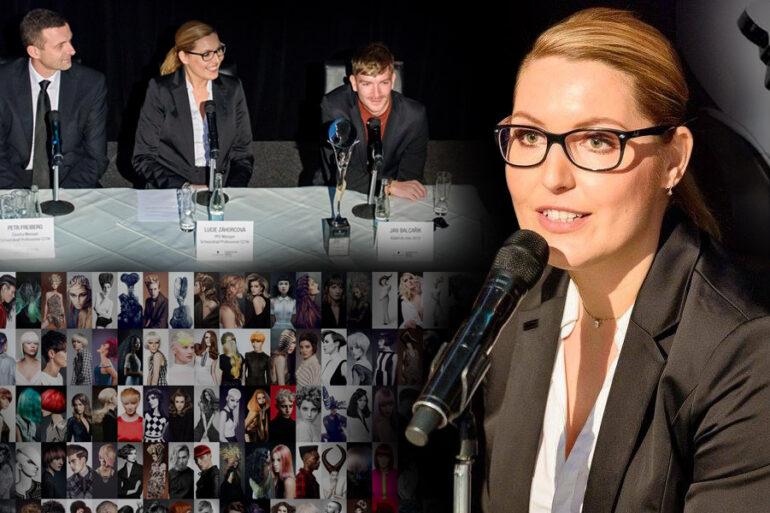 Lucie Záhorcová, ředitelka soutěže Czech&Slovak Hairdressing Awards na tiskové konferenci při vyhlašování nominací za rok 2015. Na obrázku s Janem Balcaříkem, Kadeřníkem roku 2013 (vpravo) a Petrem Freibergem, Country Managerem Schwarzkopf Professional CZ/SK (vlevo).